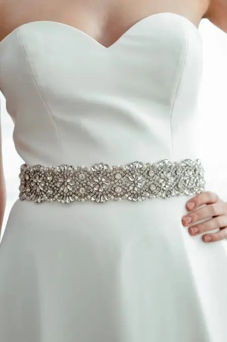 PBB1008 – wide diamante & pearl bridal belt on ribbon sash