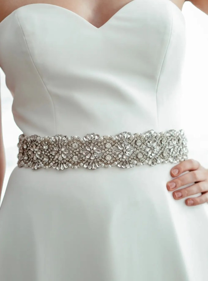 PBB1008 - wide sparkly bridal wedding dress belt on model 1