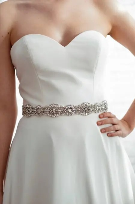 PBB1012 – diamante, pearl & seed bead bridal belt on ribbon sash