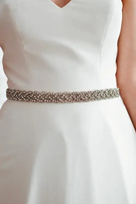 PBB1019 – plaited diamante bridal belt on ribbon sash