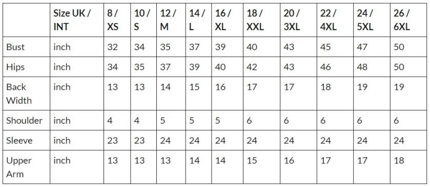 bolero size chart (except fur)