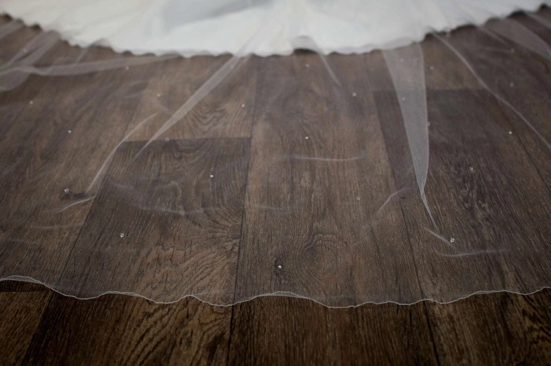 Alexis - cathedral length wedding veil with pearls and crystals on bride detail (2)