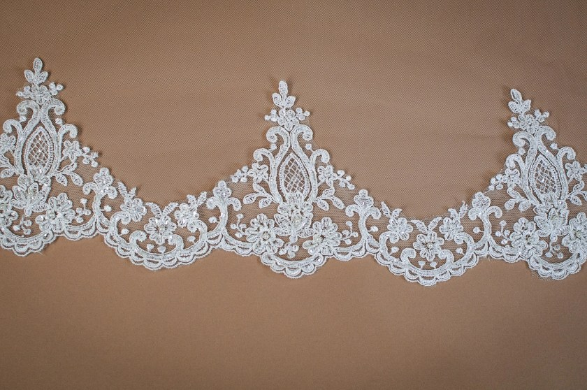 Aspen - two layer chapel length veil with sparkly lace to elbow level closeup on solid background
