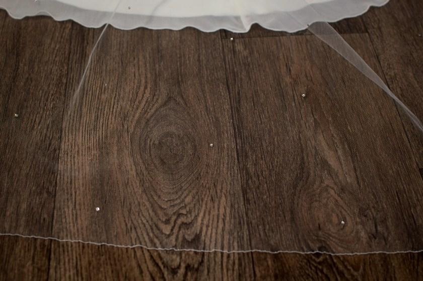 Bianca - single layer chapel length veil with diamantes detail (2)