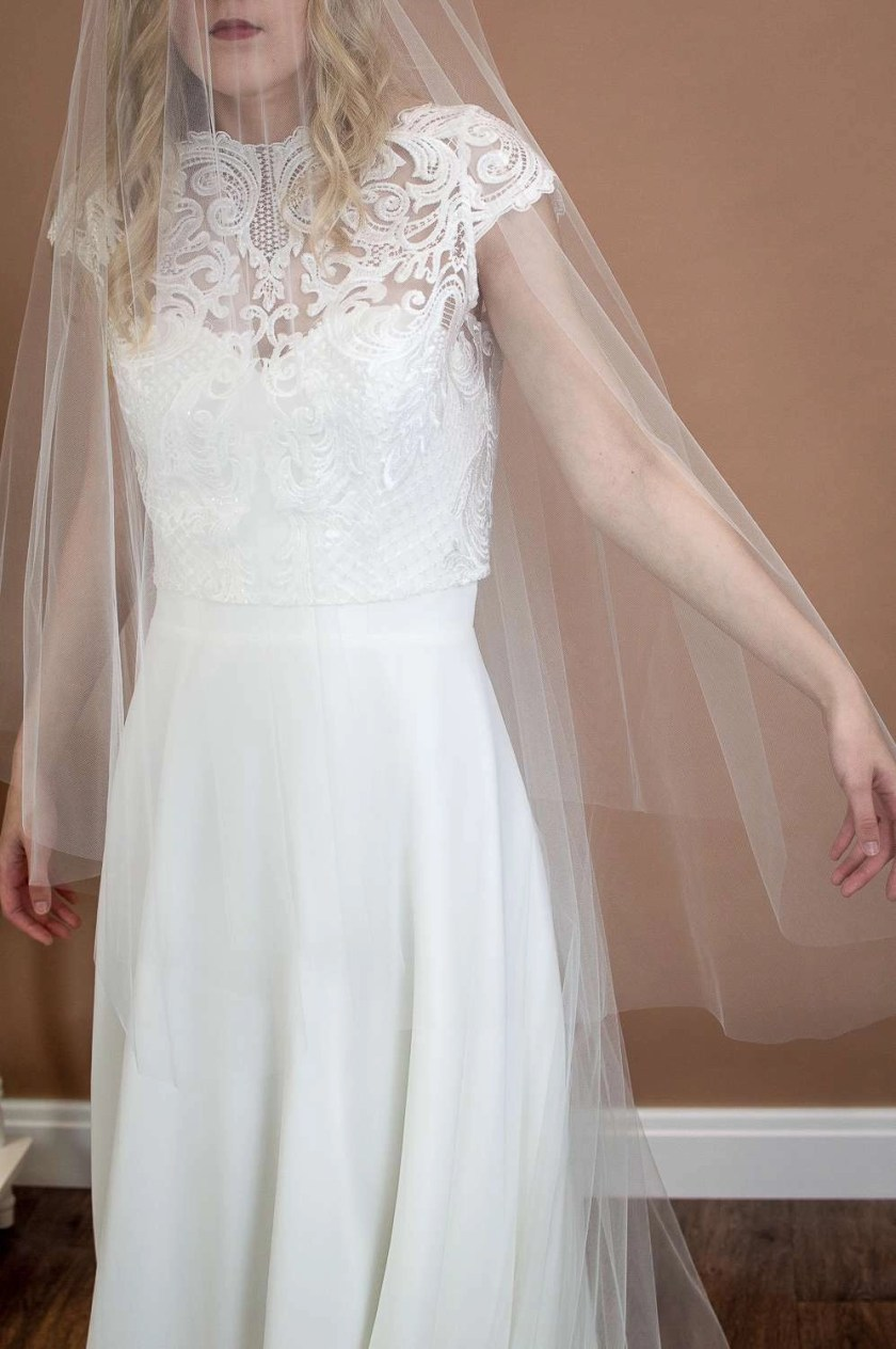 Caitlyn - two layer chapel length plain veil with a cut edge and extra long blusher closeup of blusher