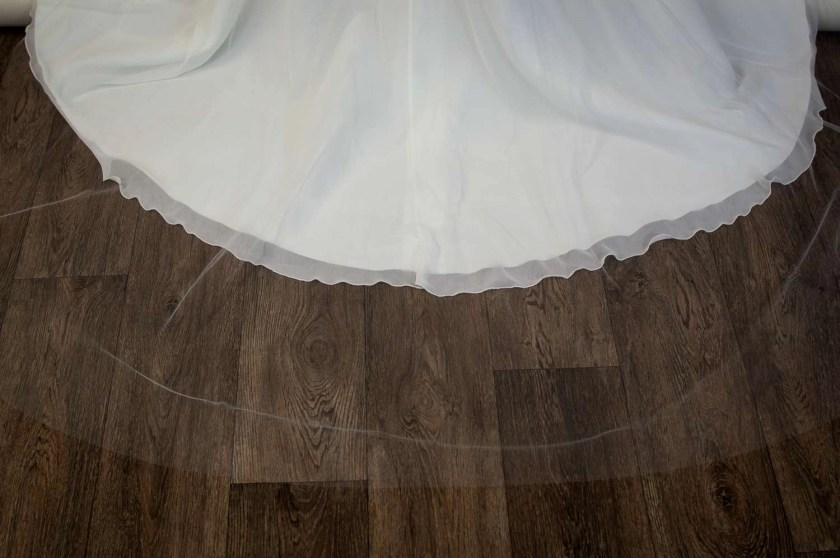 Caitlyn - two layer chapel length plain veil with a cut edge and extra long blusher detail