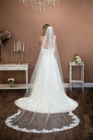 Celeste - long one layer chapel length veil with a floral lace bottom on bride