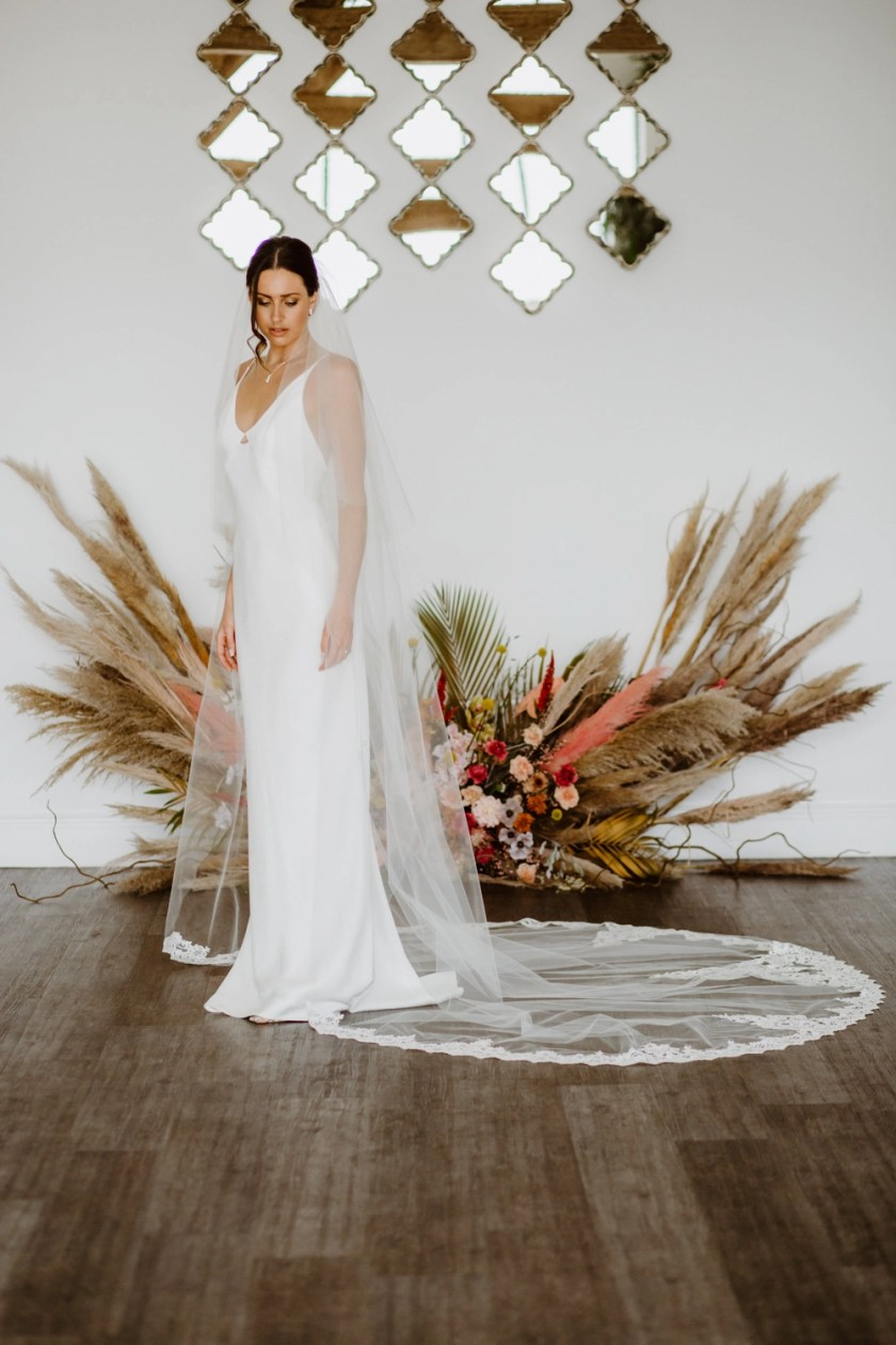 ELIZABETH – two layer cathedral length wedding veil with ornate lace detailing
