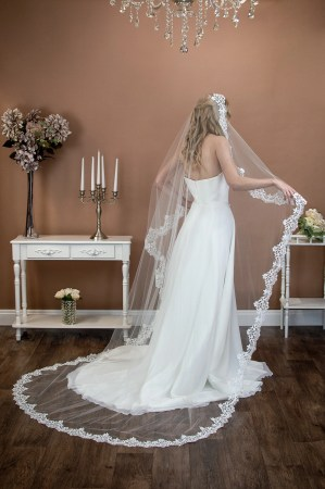 Harmony - single layer chapel length lace edged mantilla veil with comb