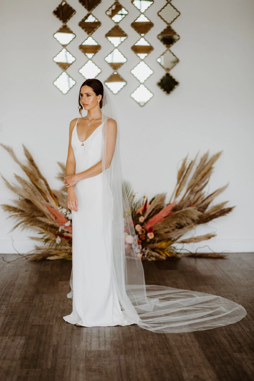 JESSICA - one layer cathedral length extra wide veil with a simple edge