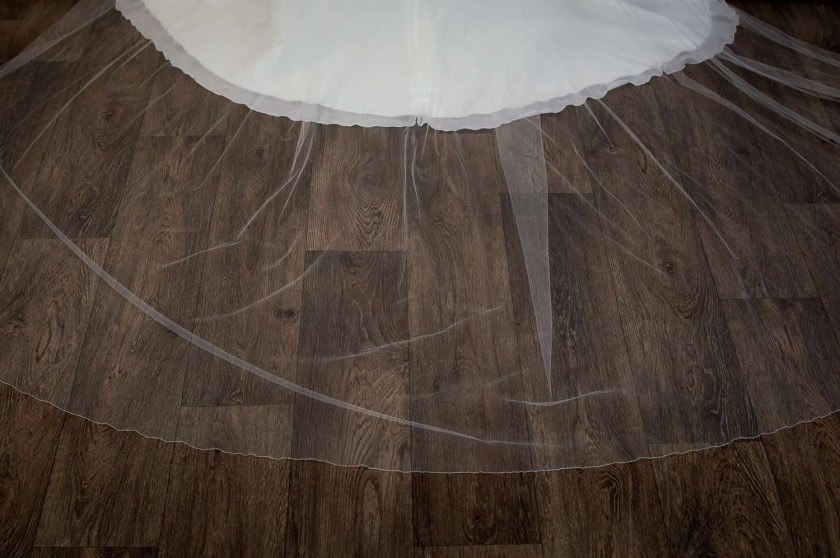 Jessica - one layer cathedral length extra wide plain veil detail