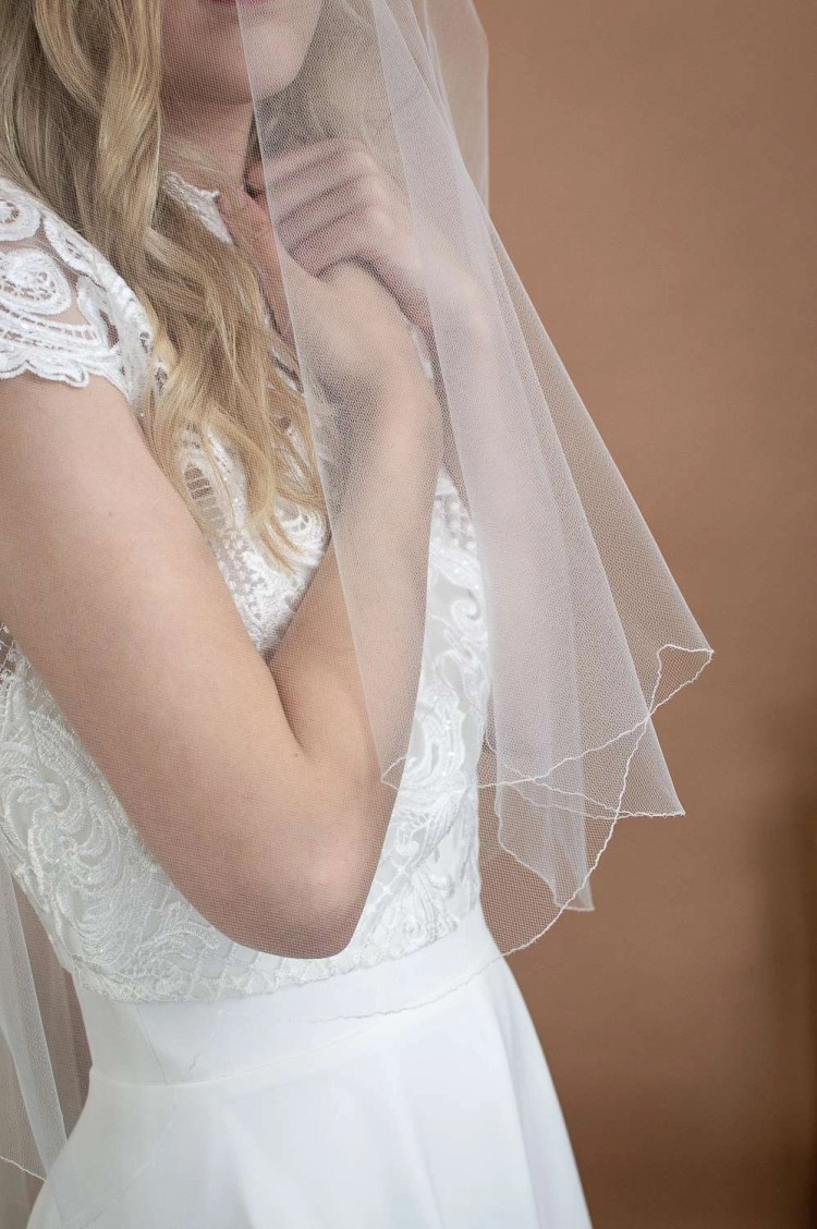 Maisie - two layer scalloped edge veil with beaded lace appliques blusher closeup