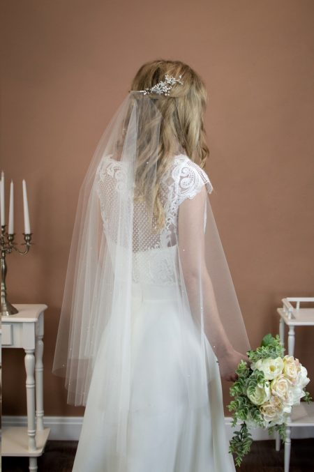 MATILDA – two tier hip length drop veil with a cut edge and scattered pearls