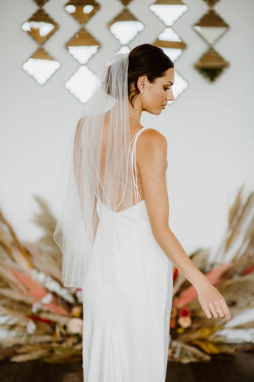 Mia – single layer hip length veil with a pencil edge and scattered diamantes