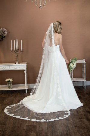 Sienna - long one layer chapel length veil with a full lace edge on bride