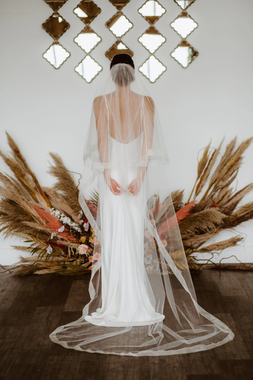 Summer - two tier chapel length veil with a wide sheer ribbon edge
