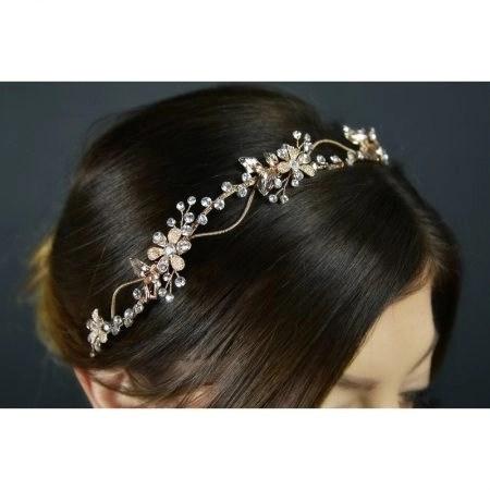 SALE! TLH3119 – Rose Gold Crystal Hair Vine