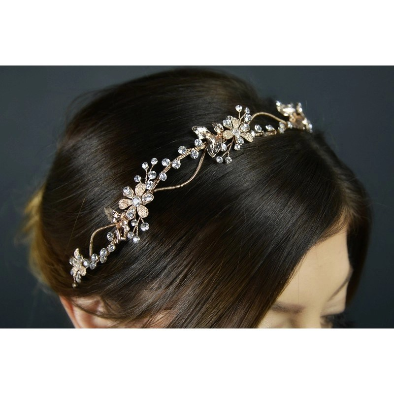 Rose gold vine for brides hair