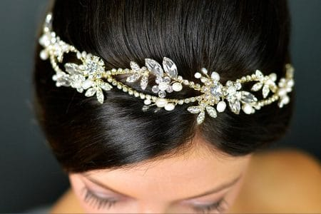 SALE! TLT4666 – Light gold tiara with freshwater pearls & diamantes.