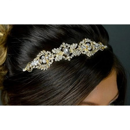 SALE! TLT4674 – Art Deco style diamante side headband in soft gold