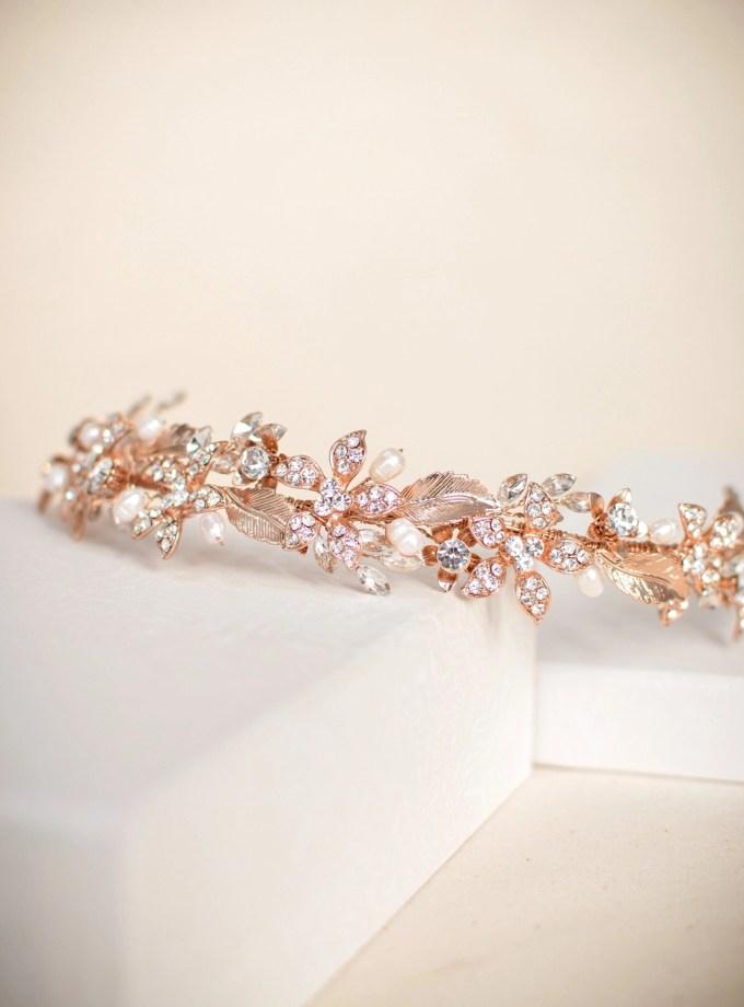 TLH3120 – Rose gold tiara with crystals & diamantes