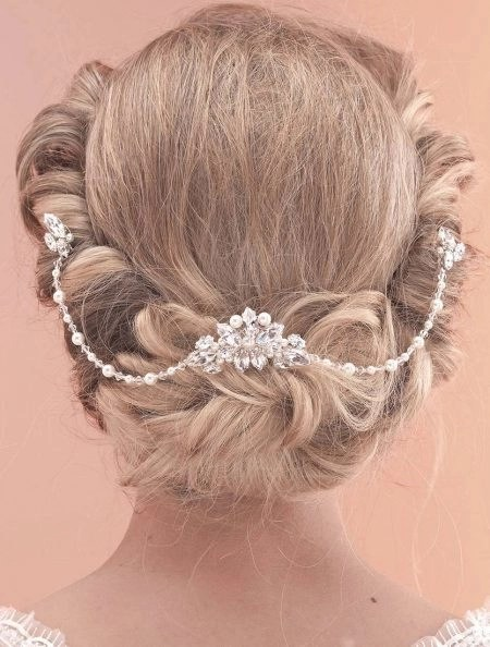 SALE! AR520 – Vintage draped comb with crystals, diamantes & pearls