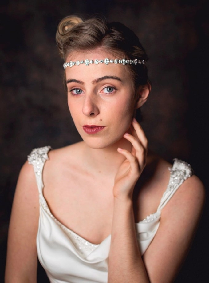 Coco - beautiful elasticated diamante hair chain on model bride TLH3038