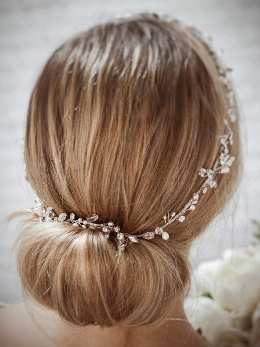 Halo TLH3124 silver diamante and pearl bridal hair vine 60cm long on blonde bride hair up