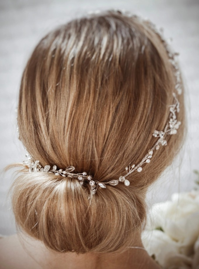 Halo TLH3124 silver diamante and pearl bridal hair vine 60cm long on blonde bride hair up