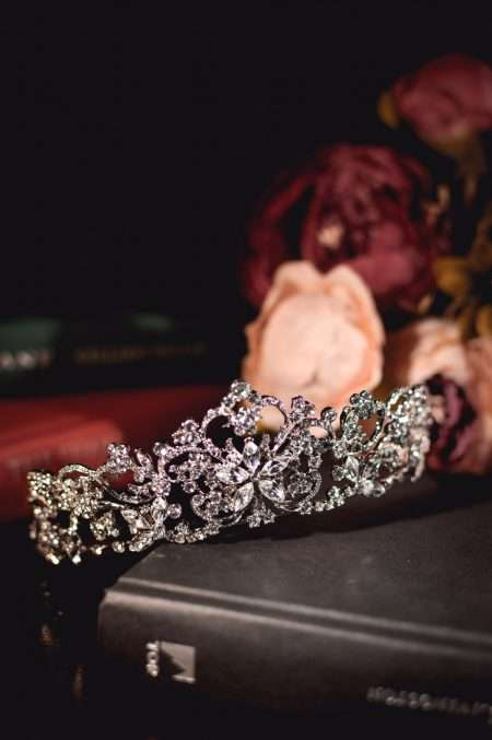 Regina large silver diamante bridal tiara closeup main