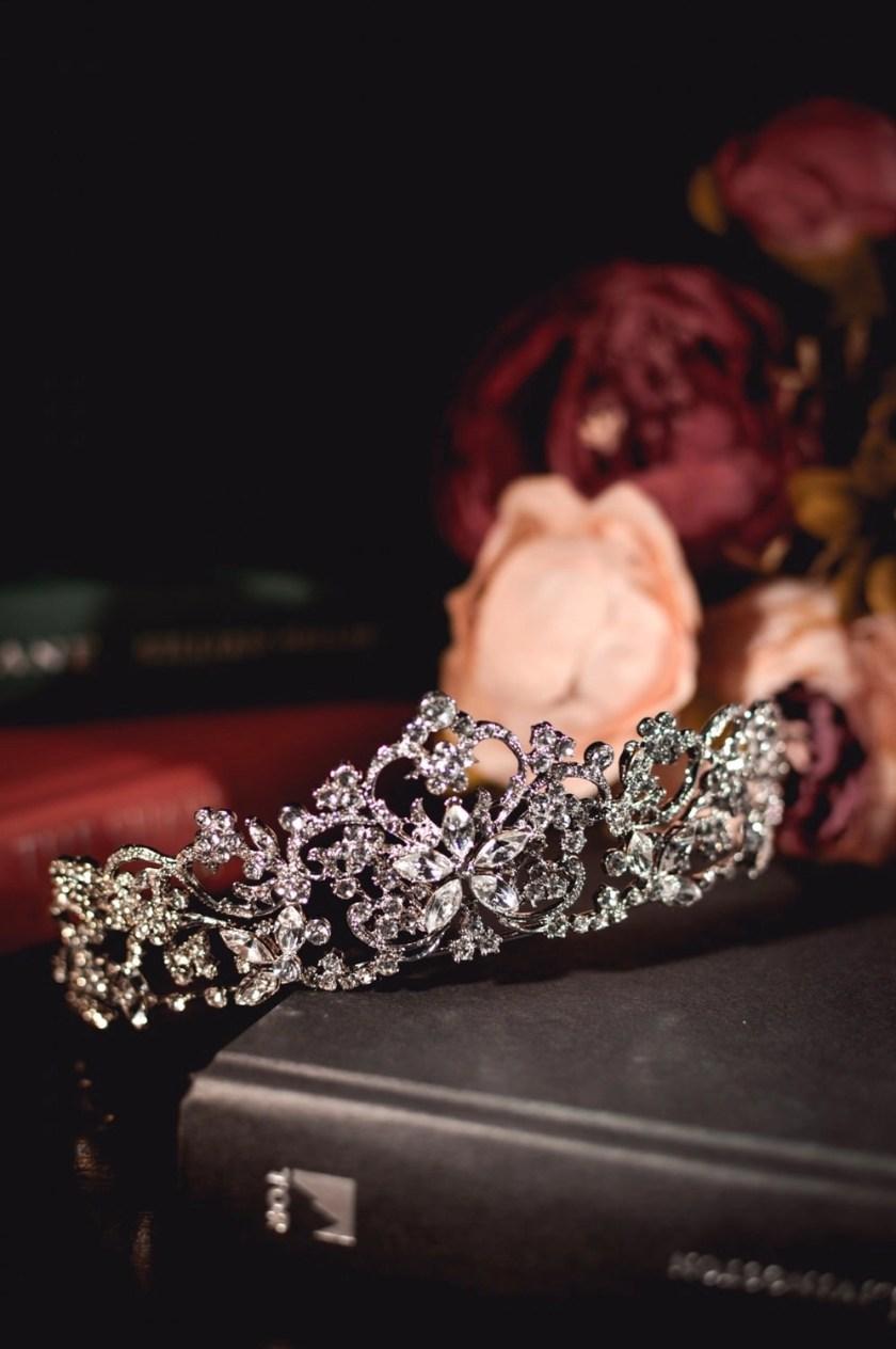 Regina large silver diamante bridal tiara closeup main