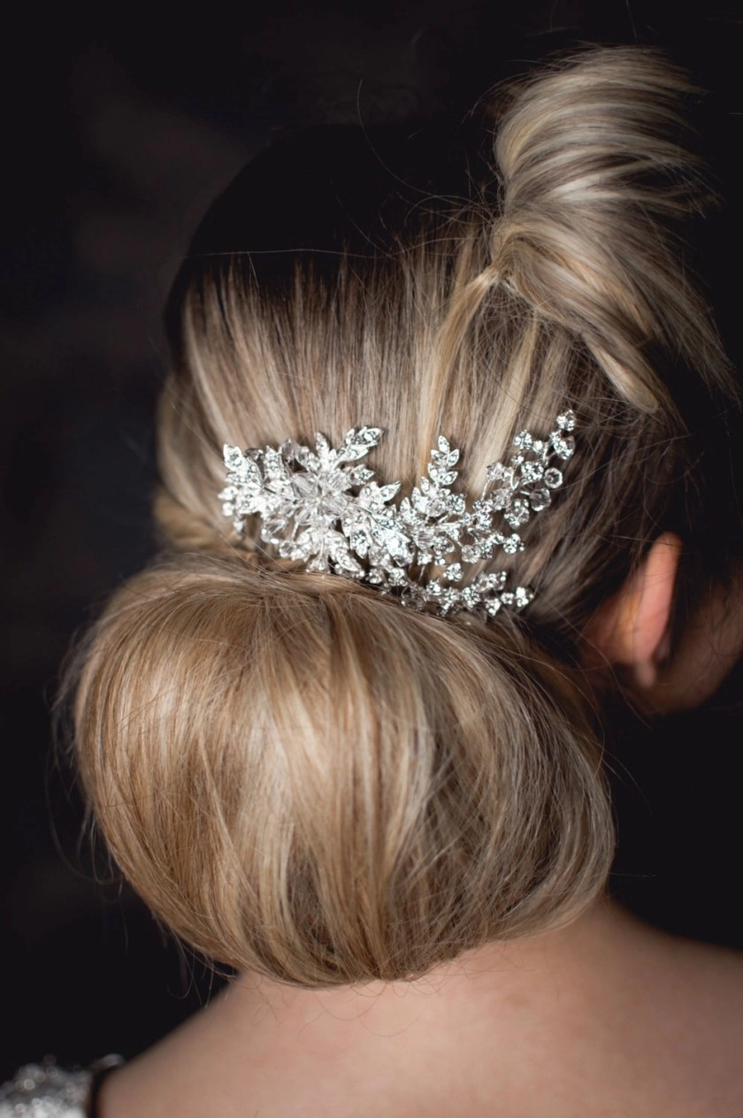 Rita - Vintage bridal hair comb with diamante leaves on model bride closeup TLH3001