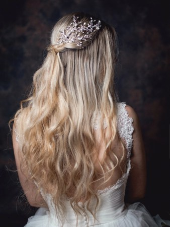 Stardust - Stardust - crystal, pearl & diamante bridal headpiece on bride TLH3104