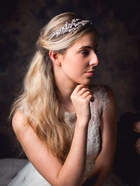 Venus – diamante leaf side headband on a shaped band