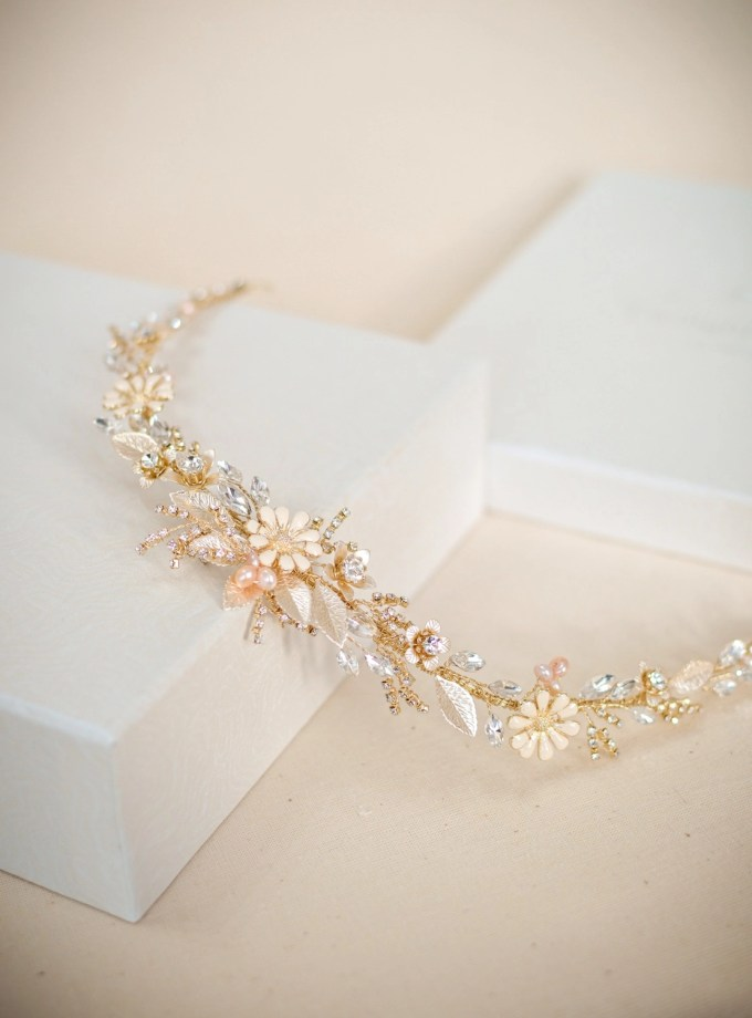 Soft Gold, Blush and Porcelain Flower Hair Vine