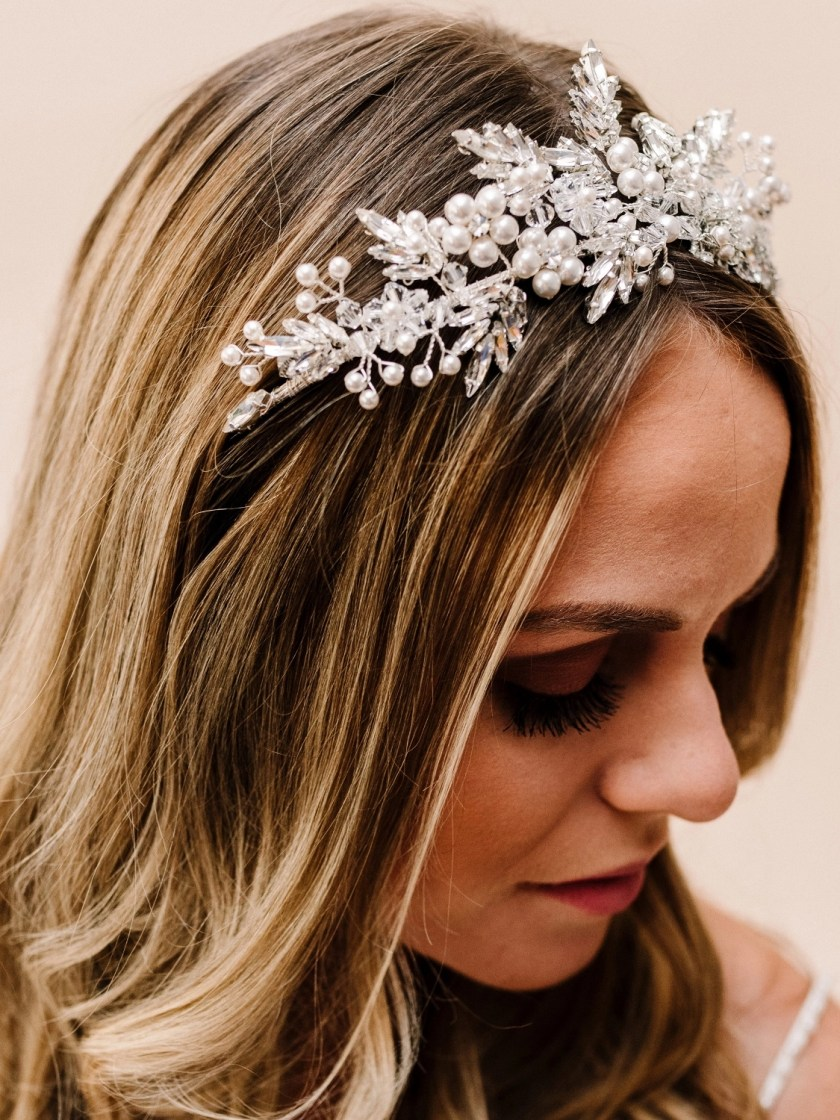 AR626 Jasmine large diamante leaf tiara accented with pearls by Arianna