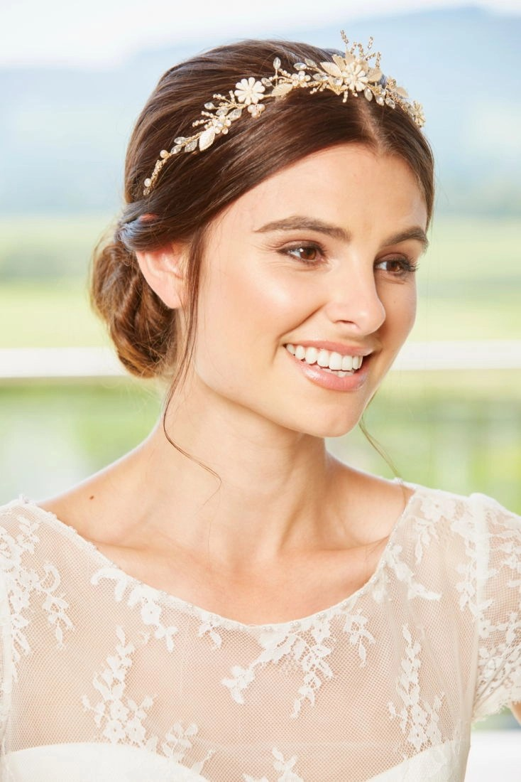 lp725 Soft Gold, Blush and Porcelain Flower Hair Vine (2)
