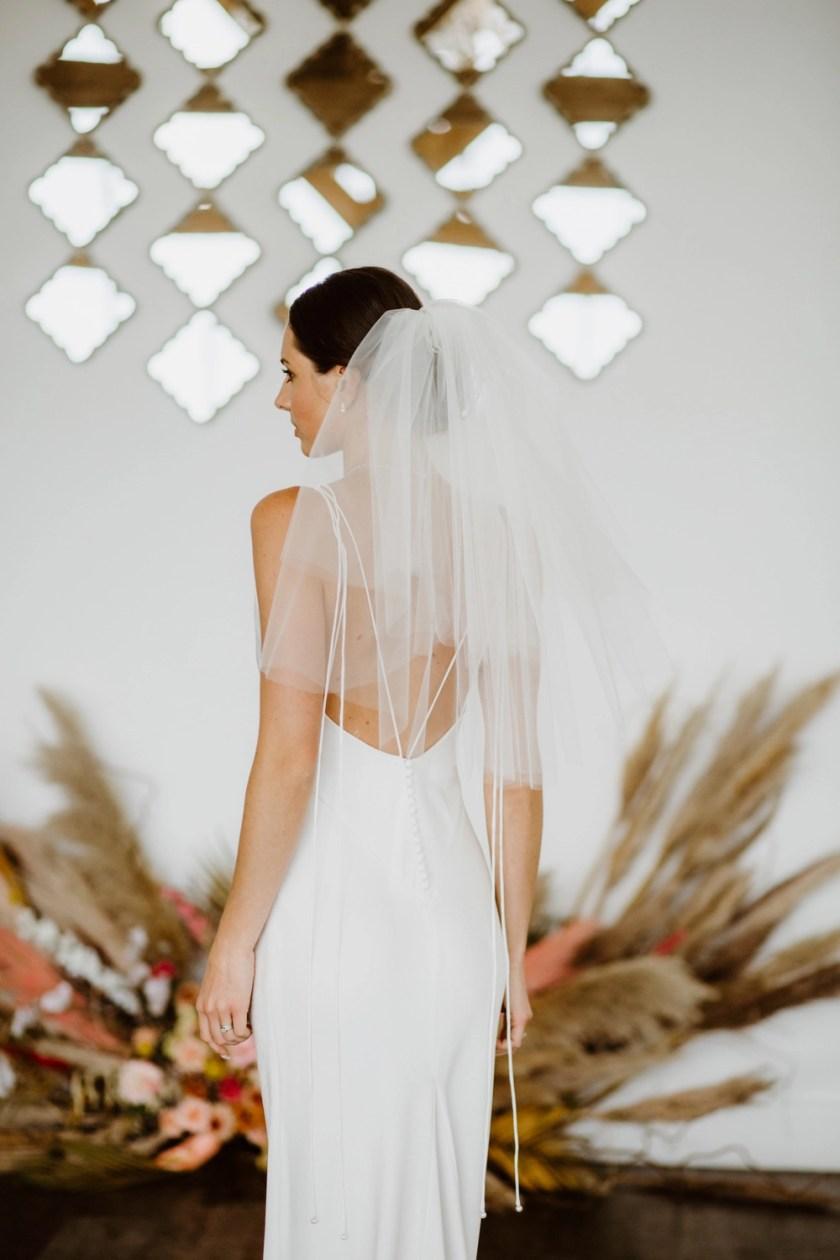 Priscilla - 1960's inspired short bouffant wedding veil with a cut edge