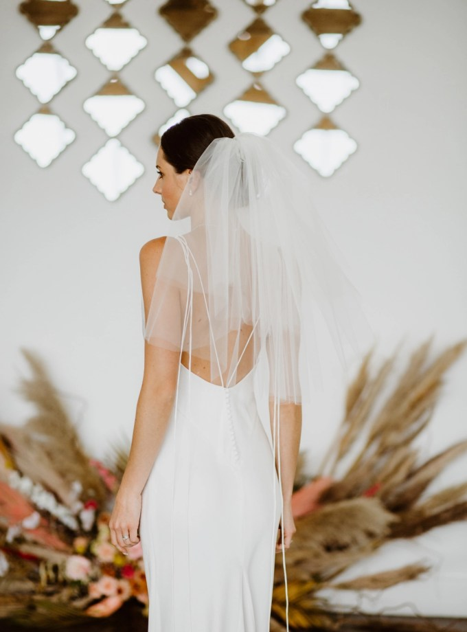 Priscilla - 1960's inspired short bouffant wedding veil with a cut edge