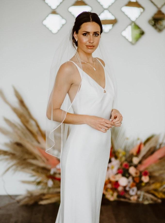 Sophia - one layer hip length veil with rhinestone edging