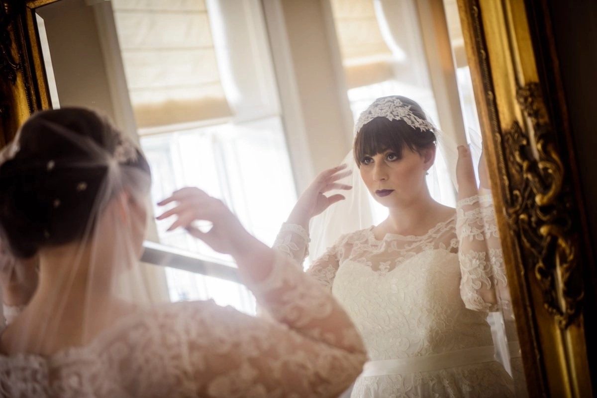 Real bride Elizabeth wearing our Juliet cap veil 'Juliet'