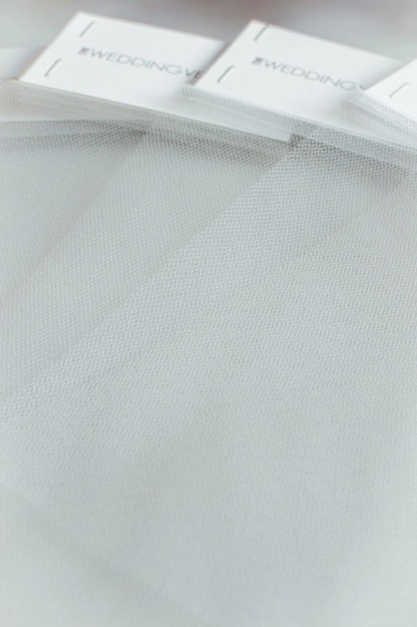 Lighter colours veil tulle samples closeup