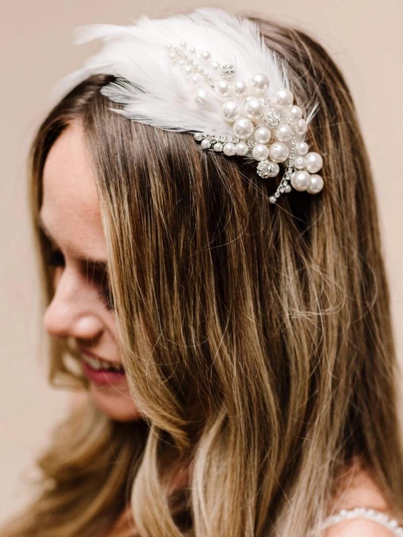 AR620 Twyla feather vintage bridal headpiece