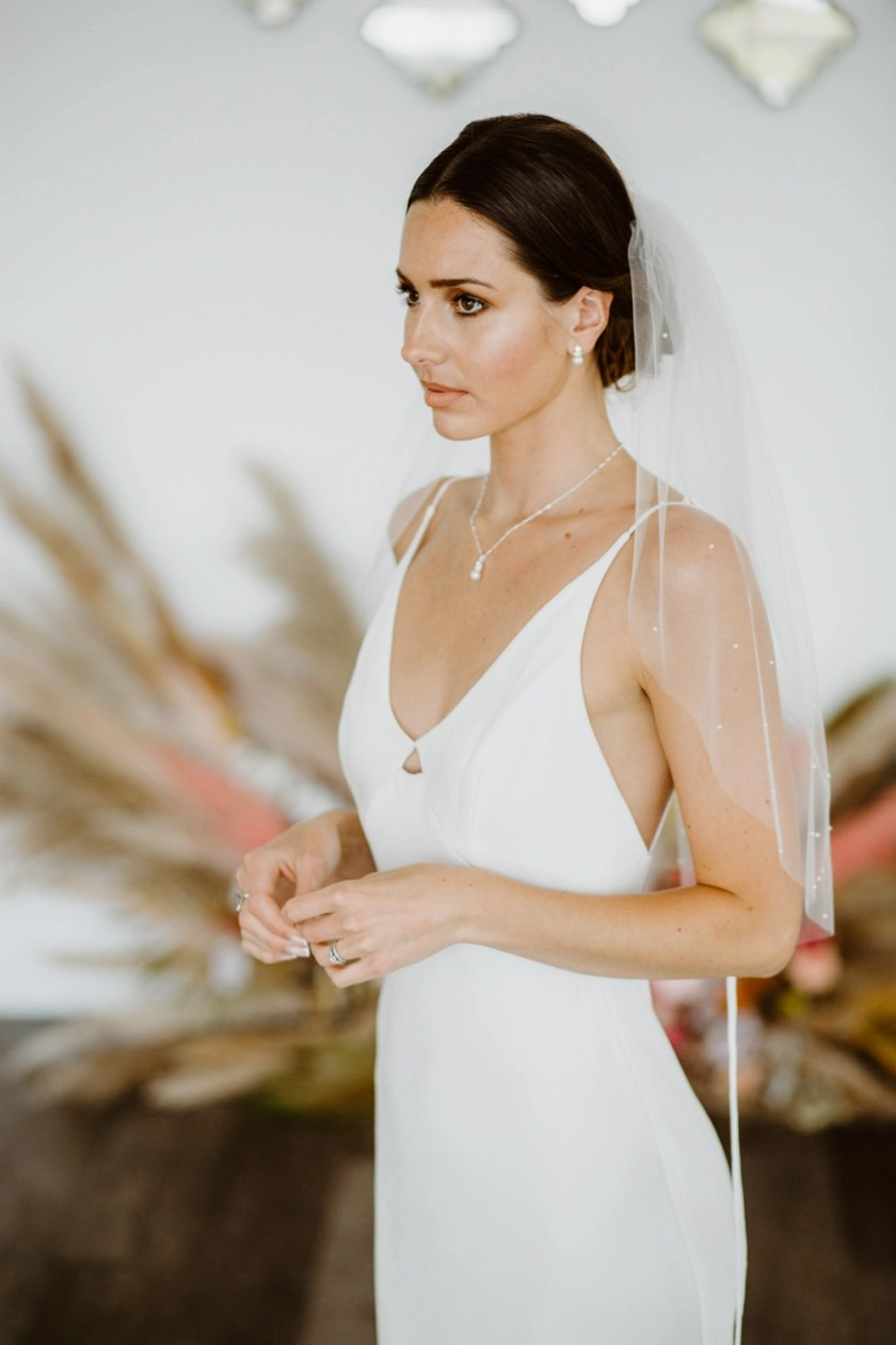 """Chloe - one layer elbow length veil with pearls """"falling stars"""""""
