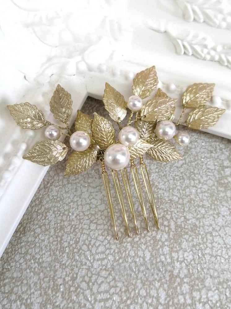 Aurelia gold leaf and pearl hair comb