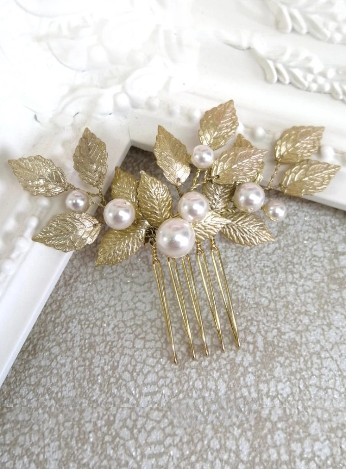 Aurelia gold leaf and pearl hair comb