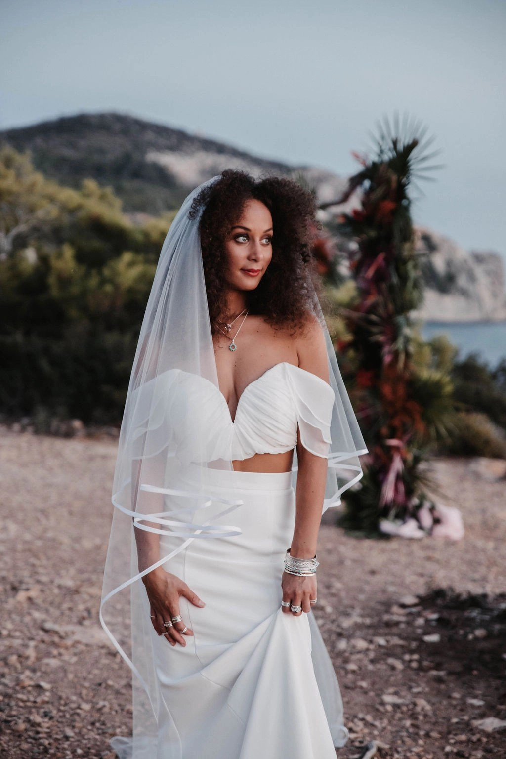 Ibiza at Sunset Black bride with hair down with veil long chapel satin edge (21)