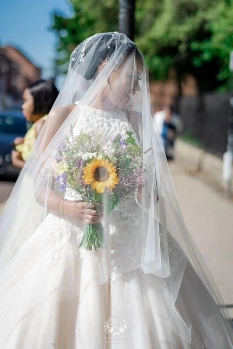 Custom cathedral veil Caitlyn - lockdown wedding - real bride 2020