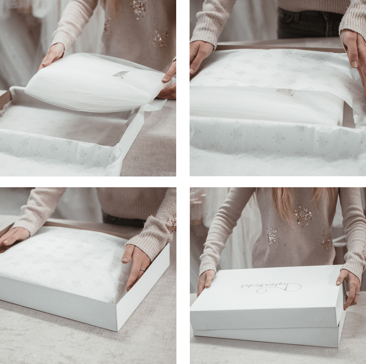 folding and packing packaging a wedding veil