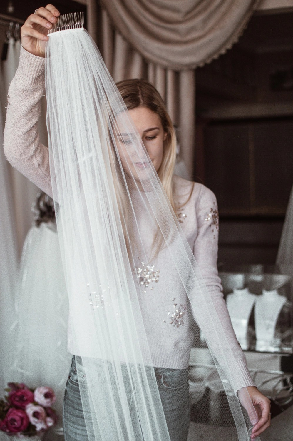 wedding veil care when trying on a home